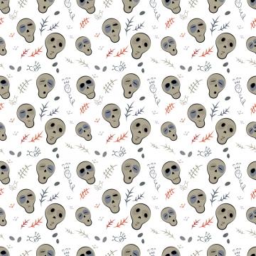 在白色的無縫的樣式頭骨 , 矢量, 無縫模式, 頭骨 背景圖片