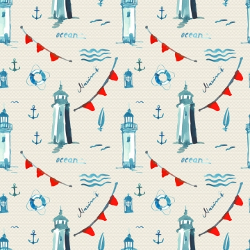 watercolor sea pattern with lighthouse and lamp , Seamless Pattern, Vector Watercolor Pattern, Sea Background image