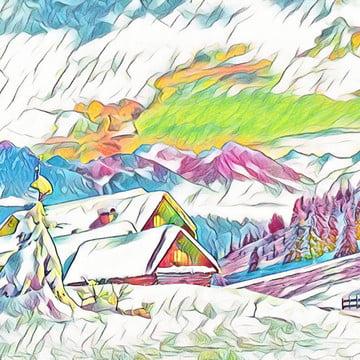 bức tranh đầy màu sắc cảnh mùa đông với núi , Mùa đông, Hội Họa, Dầu Ảnh nền