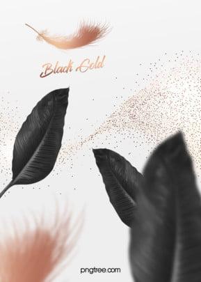 優雅大氣粒子黑棕櫚金羽毛婚禮背景 , 優雅, 大氣, 棕櫚 背景圖片