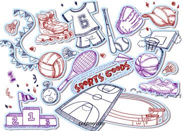 pensil doodle sukan tempat kejadian dan bekalan, Barang Olahraga, Sukan, Tempat Kejadian imej latar belakang