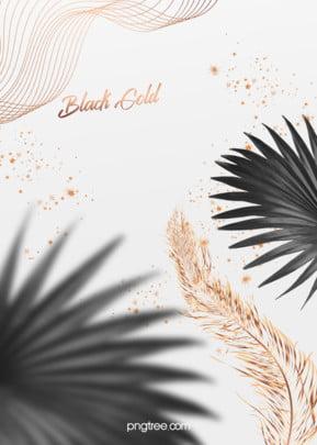 優雅線條黑棕櫚金羽毛婚禮背景 , 優雅, 大氣, 星星 背景圖片