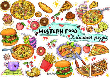 hand painted delicious graffiti for western food pastries, Coffee, Hamburger, Doughnut Background image