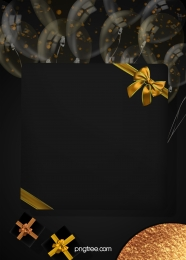 the background of black gold texture party , Coloured Ribbon, Balloon, Gift Box Background image