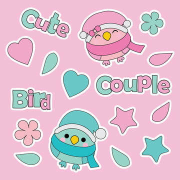 Cute Couple Birds, Love Shape, Flowers, And Stars Cartoon Illustration For Kid Sticker Set Design, Background image