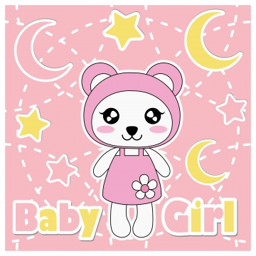 Cute Panda Girl, Stars, And Moon Cartoon Illustration For Baby Shower Kid T-shirt Graphic Design, Backdrop And Wallpaper, Background image