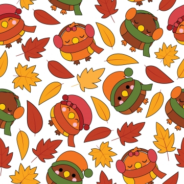 seamless pattern with cute birds and maple leaves cartoon illustration for autumn wallpaper design , Scrap Paper And Kid Fabric Clothes Background, Adorable, Art Background image
