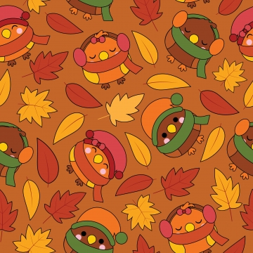seamless pattern with cute birds and maple leaves on brown background cartoon illustration for autumn wallpaper design , Scrap Paper And Kid Fabric Clothes Background, Adorable, Art Background image