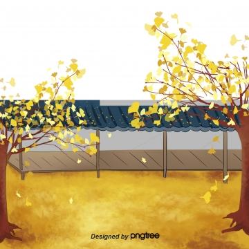 पतझड़ के सुनहरे पेड़ पौधे की इमारत , शरद ऋतु, Golden, पेड़ पृष्ठभूमि छवि