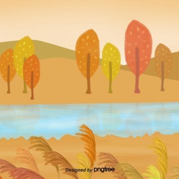 पतझड़ के सुनहरे पेड़ नदी , शरद ऋतु, Golden, पेड़ पृष्ठभूमि छवि