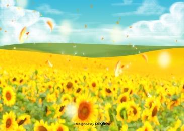 秋天向日葵植物花海, 黃色, 向日葵, 花 背景圖片