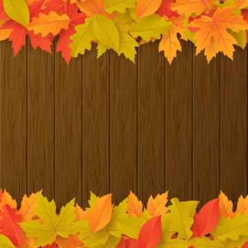 茶色の木の板に秋の紅葉と秋のベクトルの背景 , 抄録, 広告, 秋 背景画像