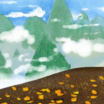 秋天黃色落葉綠色遙遠的山峭壁白色雲彩 , 秋天, 黃色, 落葉 背景圖片