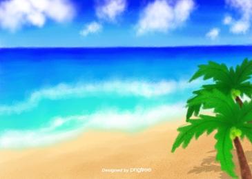 ブルーオーシャンシーサイドビーチココ, ブルー, 海, 海辺 背景画像
