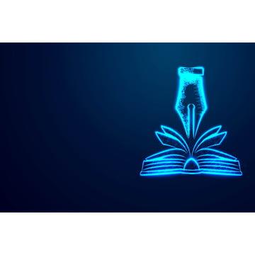 कनेक्टिन से पुस्तक और कलम शिक्षा अवधारणा सार डिजाइन , चित्रण, वेक्टर, नीले पृष्ठभूमि छवि