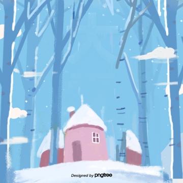 सर्दियों की लकड़ी में कार्टून घर का दृश्य , कार्टून, Winter, मौसम पृष्ठभूमि छवि