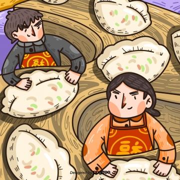 phim hoạt hình nam nữ làm bánh bao cho năm mới của trung quốc , Hoạt Hình, New Year, Dumplings Ảnh nền