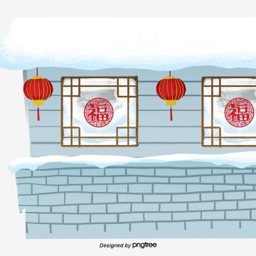 中国風の冬の建物の窓のランタン , 中国風, Winter, 建築物 背景画像