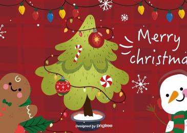 クリスマスツリー雪だるま照明ポスター Christmas Christmas Tree 背景画像