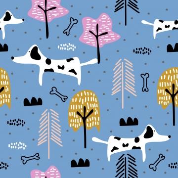 प्यारा कुत्ता सहज पैटर्न ड्राइंग पशु चित्रण ट्रेंड स्कैंडिनेवियाई कला कार्टून पृष्ठभूमि , पैटर्न, वेक्टर, स्कैंडिनेवियाई पृष्ठभूमि छवि