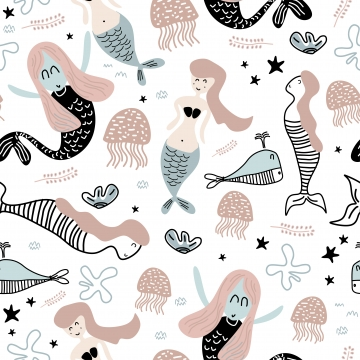 मत्स्यांगना और स्टारफिश का प्यारा पैटर्न बेबी फैशन टेक्सटाइल प्रिंट के लिए समुद्री दुनिया का अजीब चित्रण , डॉल्फिन, सार, परिधान पृष्ठभूमि छवि