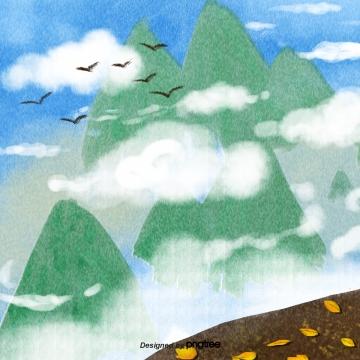 落葉懸崖 白雲 飛翔的鳥兒 秋天 , 落葉, 陡峭的懸崖, 白雲 背景圖片