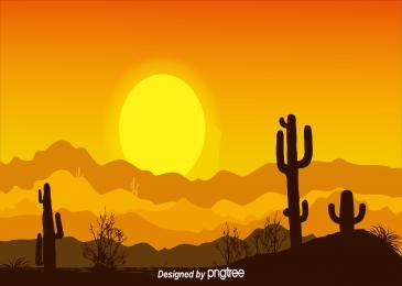 沙漠仙人掌植物金黃日落, 沙漠, 仙人掌, 植物 背景圖片