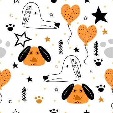 कुत्ते के हाथ बच्चों के लिए सहज पैटर्न खींचा पृष्ठभूमि चित्रण प्रिंट पृष्ठभूमि छवि