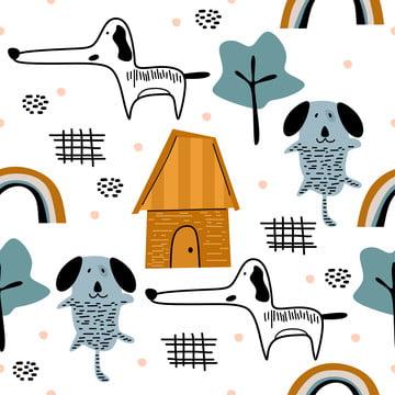 अजीब कुत्ता हाथ खींचा स्कैंडिनेवियाई शैली बच्चों ड्राइंग , पृष्ठभूमि, चित्रण, प्रिंट पृष्ठभूमि छवि