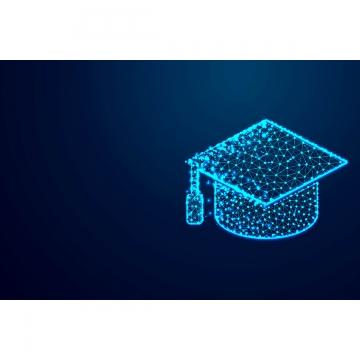 卒業キャップ抽象コネクから低ポリワイヤーフレームデザイン , アイコン, 背景, ブルー 背景画像