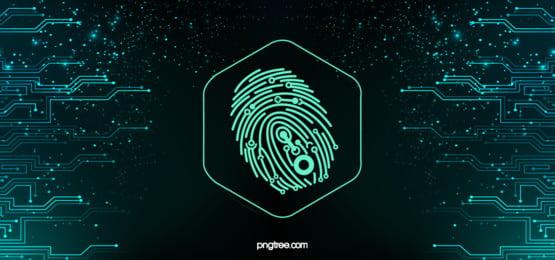 ハイテク指紋ビッグデータの背景, 照らされた指紋, 指紋スキャン, Technological Sense 背景画像