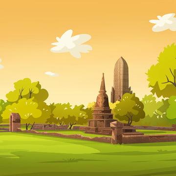 शाम को पुराने शहर थाईलैंड का चित्रण , पेड़, सूर्यास्त, पेंटिंग पृष्ठभूमि छवि
