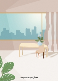 室内設備、テーブルとチェア、鉢植えの植物、カーテン窓 , 家居, 室内, 飾り物 背景画像