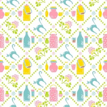 우유 원활한 패턴 항아리와 고양이 , 완벽 한 패턴, 우유, 암소 배경 이미지