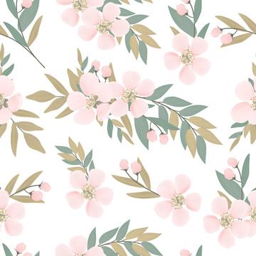 분홍색 벚꽃 원활한 패턴 흰색 배경 , 앵두, 봄, 핑크 배경 이미지