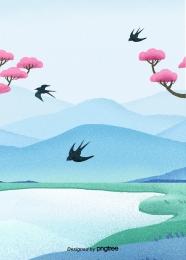 春、山川、ツバメ , 春, 山川, 川の流れ 背景画像
