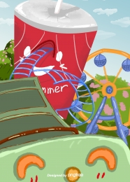 夏季遊樂園摩天輪過山車 , 夏天, 遊樂園, 摩天輪 背景圖片