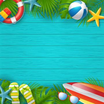 रंगीन समुद्र तट तत्वों वेक्टर चित्रण के साथ गर्मियों की पृष्ठभूमि वेक्टर बैनर डिजाइन , विज्ञापन, पृष्ठभूमि, गेंद पृष्ठभूमि छवि