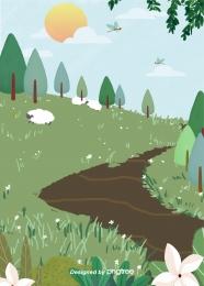 ग्रीष्मकालीन घास का मैदान  घास और पशु  भेड़ के बच्चे , गर्मियों में, झील, सड़क पृष्ठभूमि छवि