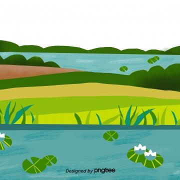 summer sungai menanam hijau luar , Musim Panas, Sungai, Tumbuhan imej latar belakang