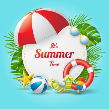 सर्कल आकार और रंगीन समुद्र तट तत्वों वेक्टर चित्रण के साथ गर्मियों के समय वेक्टर बैनर डिजाइन , 3 डी, विज्ञापन, पृष्ठभूमि पृष्ठभूमि छवि