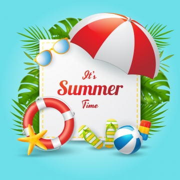 summer time vector banner design with rectangle shape and colorful beach elements  vector illustration , 3d, Advertising, Background Background image