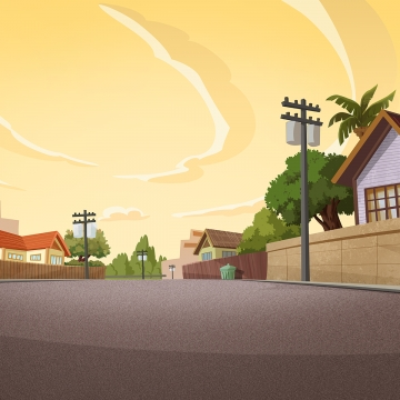 pemandangan matahari terbenam di sebuah kampung kecil , Kampung, Pagar, Rumah imej latar belakang