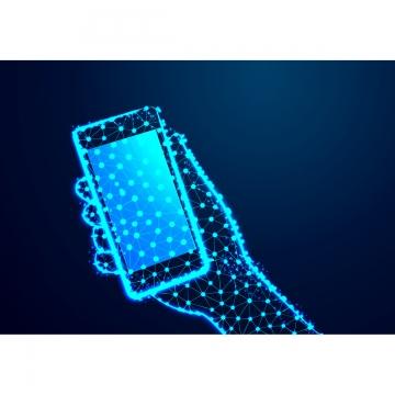 クリッピングパスの接続と手でタッチスクリーン携帯電話 , ポリゴン, 三角形, ベクター 背景画像