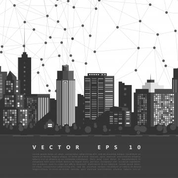 नेटवर्क के साथ वेक्टर आधुनिक शहर सिटीस्केप पृष्ठभूमि , शहर, वेक्टर, काले पृष्ठभूमि छवि