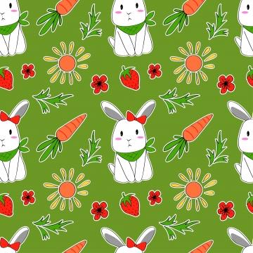 布の赤ちゃんの服の背景繊維包装紙やその他の装飾のかわいいウサギとニンジンのパターンでシームレスなパターンベクトル , 漫画, ベクター, パターン 背景画像