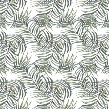 復古的白色和綠色棕櫚無縫背景 , 復古, 無縫, 熱帶 背景圖片