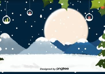 冬のクリスマス飾り、スノーフレーク、クリスマスツリー, Winter, Christmas, 掛け飾 背景画像