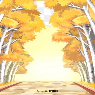 पीला पतझड़ का जंगल , Forest, सड़क, मौसम पृष्ठभूमि छवि