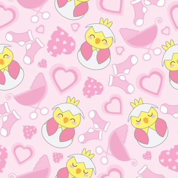 seamless background with cute chick  baby cart  sock  and love shape cartoon illustration for baby shower wallpaper  scrap paper  and fabric , Background, Seamless, Pattern Background image